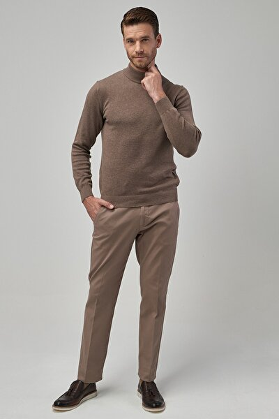 Erkek Vizon Regular Fit Casual Pantolon