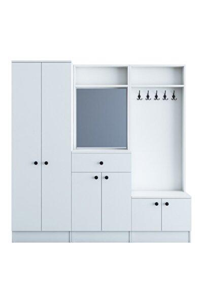 Rani P6 Modern Çekmeceli Aynalı Portmanto Ayakkabılık Vestiyer Beyaz M2