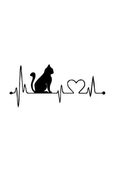 Kalp Kedi Araba Sticker Yapıştırma