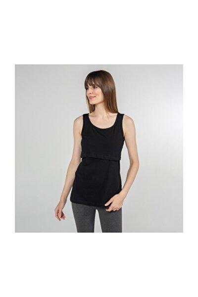 Atlet Yaka Emzirme T-Shirt - Paola - Siyah