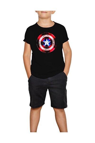 Erkek Çocuk Siyah  Captain America Sheild Neon  T-Shirt