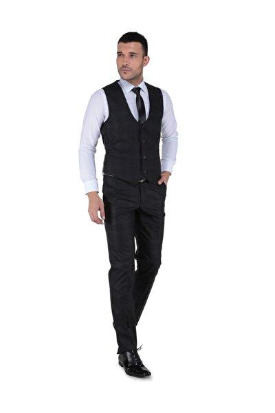 Panamera Dar Kesim Yelekli Takım Elbise - Siyah - 3B4M0434D256