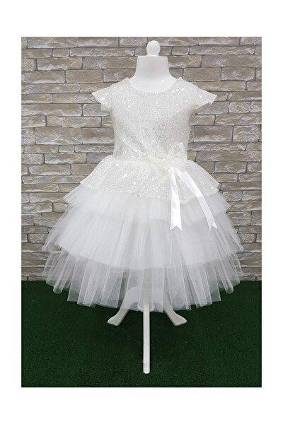 beyaz pullu,doğum günü,abiye,tütü kız çoçuk elbisesi
