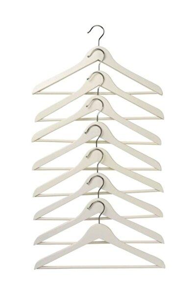 Bumerang 8 Adet Masif Ahşap Beyaz Elbise Askısı