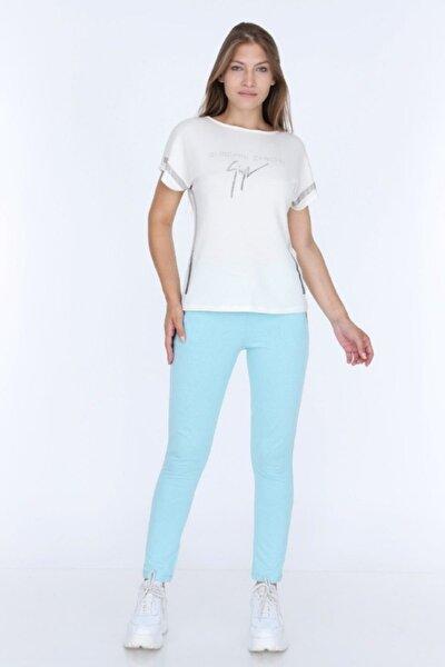 Kadın Mavi Önü Kolları Ve Pantolon Cepleri Taş Desenli Eşofman Takımı