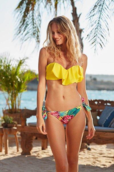 Kadın  Desenli Fırfırlı Kaplı Straplez  Bikini