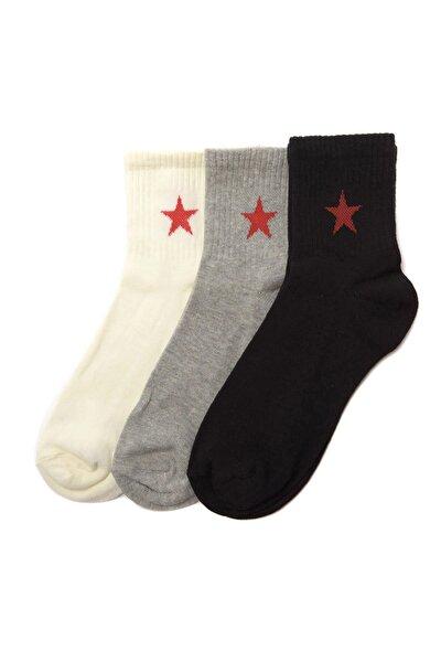 Beyaz 3'lü Yıldız Nakışlı Örme  Çorap TWOSS20CO0050