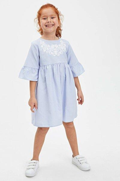 Baskılı Fırfır Detaylı Kısa Kollu Elbise