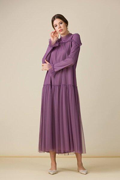 Fırfırlı Tül Elbise Lila