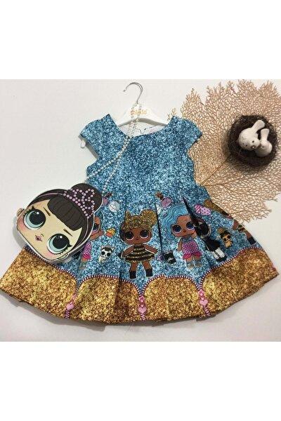 Çantalı Jakara Dijital Baskı Lol Elbise - Turkuaz Mavi