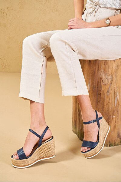 Palamos  Lacivert  Hakiki Deri Kadın Dolgu Topuklu Ayakkabı