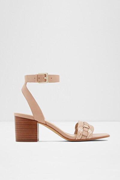 Kadın Bej Hakiki Deri Orta Topuklu Sandalet