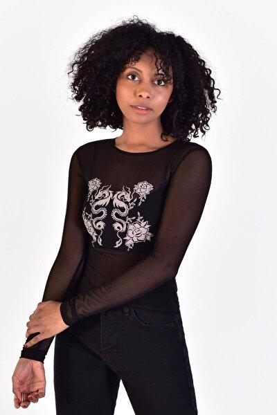 Kadın Siyah Önü Baskılı Tül Bluz ADX-0000021602