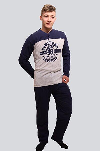 %100 Pamuk Yakası Düğmeli Erkek Eşofman Baskılı Pijama Takımı