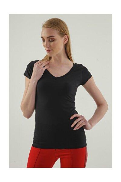Kadın Siyah Monalisa Ön Arka V Yaka Kısa Kol T-Shirt 5612