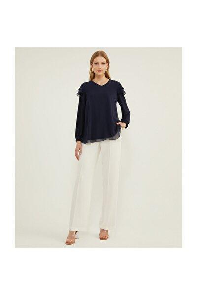 Kadın Fırfırlı Lacivert Bluz V23020135