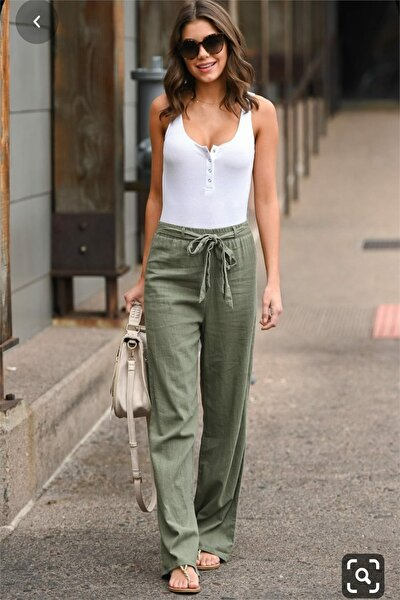 Kadın Beli Lastikli Kuşak Detaylı Keten Pantolon