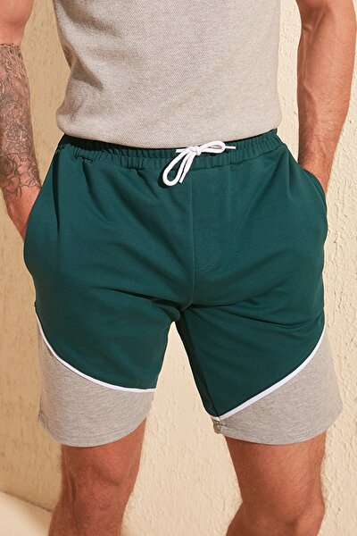 Yeşil Erkek Slim Fit Panelli Şort & Bermuda TMNSS20SR0117