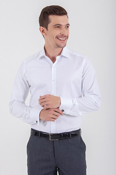 Desenli Slim Fit  Beyaz Gömlek 19D190000273