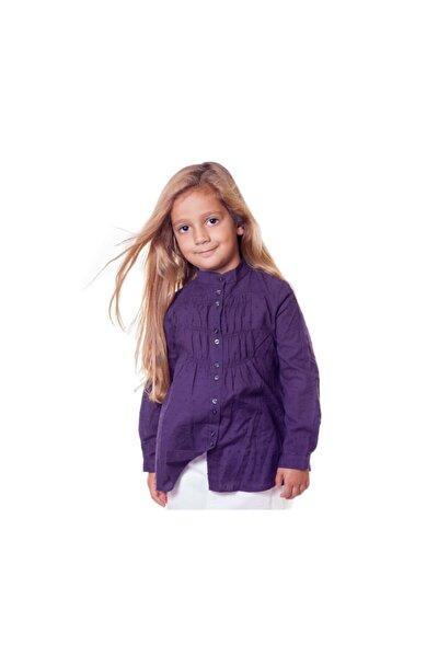 Kız Mürdüm Rengi Uzun Kollu Gömlek Bnk-95845