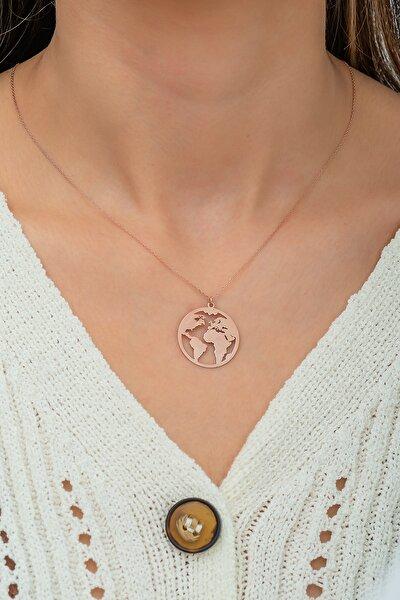 Dünya Haritası Kolye Rose Altın Kaplama 925 Ayar Gümüş