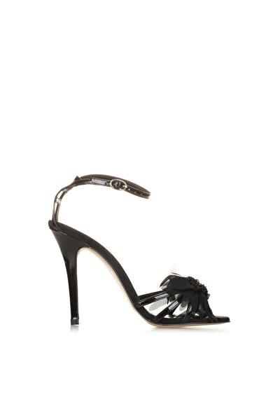 Siyah Rugan Abiye Topuklu Sandalet
