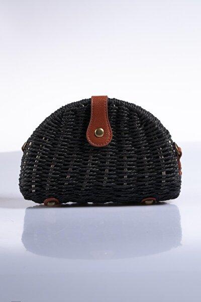 Kadın Siyah Hasır Omuz Çantası sghsr1008-siyah