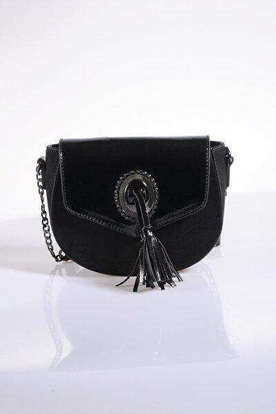 Kadın Siyah Omuz Çantası td622-süet siyah