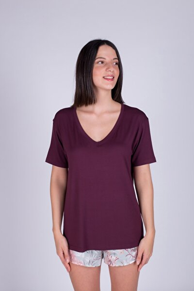 Kadın Bordo V Yaka Bordo T-Shirt