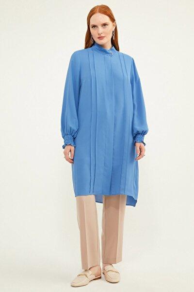 Kadın Büyük Beden Biyeli Mavi Tunik V158970110