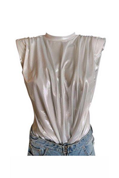 Kadın Metalik Beyaz Vatkalı Tshirt