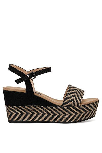Norma Siyah Kadın Dolgu Topuklu Sandalet