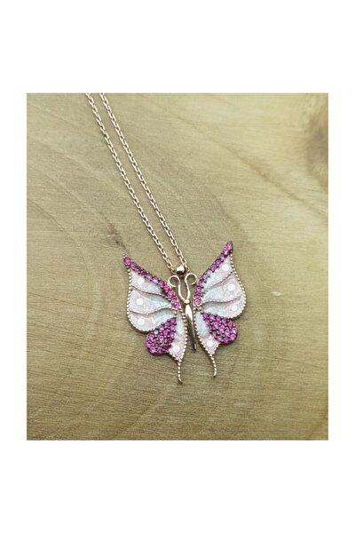 Kadın Mineli Kelebek Gümüş Kolye