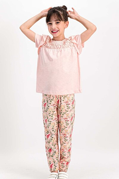 Kız Çocuk Little Flowers Somon  Pijama Takımı