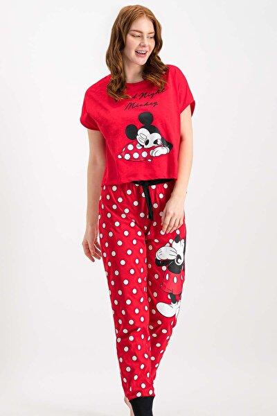 Kadın Mickey Mouse Lisanslı Kırmızı Pijama Takımı