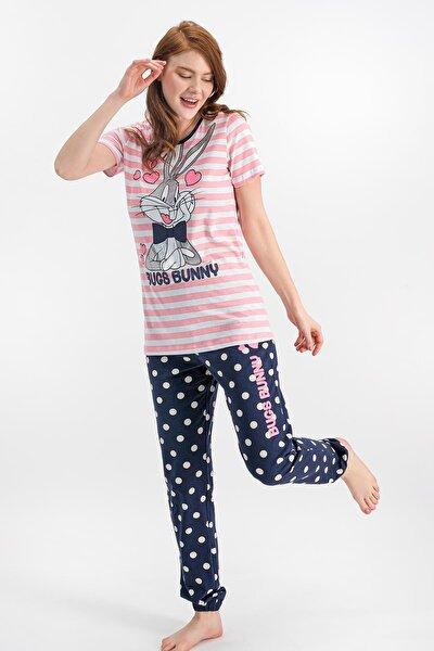 Kadın Bugs Bunny Lisanslı Şeker Pembe Pijama Takımı