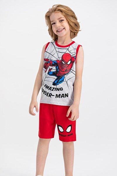 Erkek Çocuk Kırmızı Man Lisanslı Karmelanj  Bermuda Takım