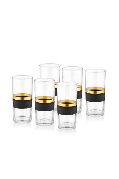 Glow Rakı Kadehi 6 Lı Set- Siyah & Gold