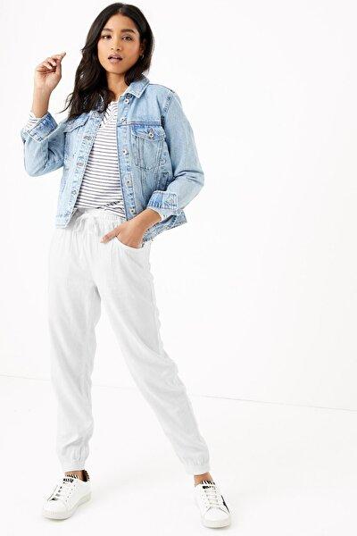 Kadın Beyaz Keten Ankle Grazer Pantolon T57007131