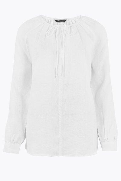 Kadın Beyaz Uzun Kollu Popever Bluz T43008809
