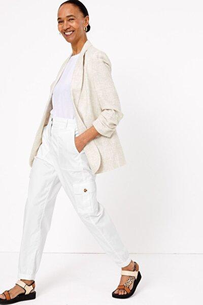 Kadın Beyaz Tencel™ Kargo Pantolon T57006117