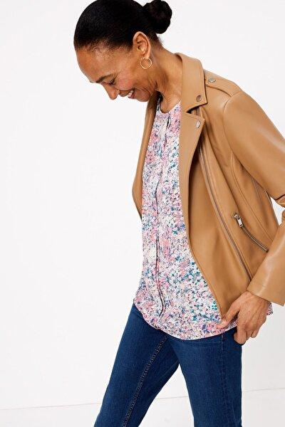 Kadın Multi Renk Kısa Kollu Çiçek Desenli Bluz T43002579