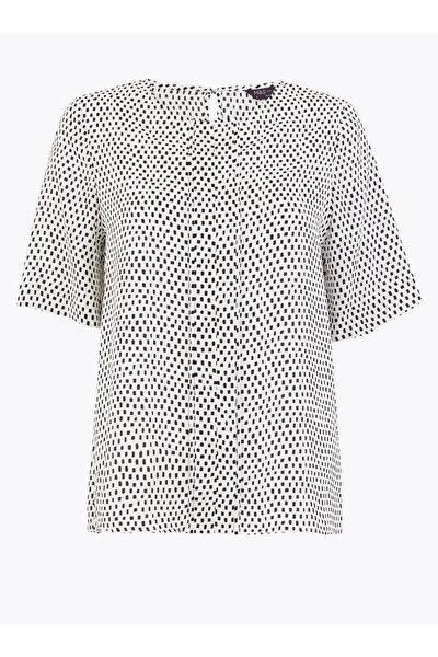 Kadın Bej Desenli Kısa Kollu Bluz T43002589