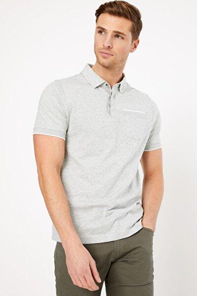Erkek Gri Kısa Kollu Polo Yaka T-Shirt T28004885A