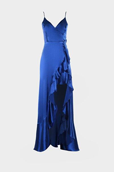 Saks Volan Detaylı Saten Abiye & Mezuniyet Elbisesi TPRSS20AE0198