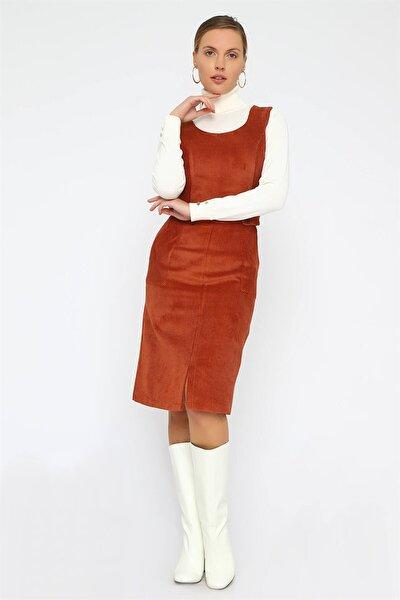 Kadın Taba Kolsuz Kadife Elbise K20EL192