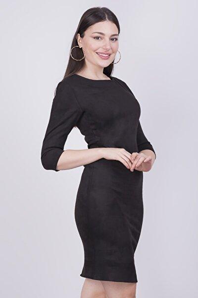 Kadın Siyah Süet Elbise 3767/100