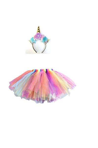 Unicorn Taç Tütü Etek Seti.doğum Günü Parti Kostüm