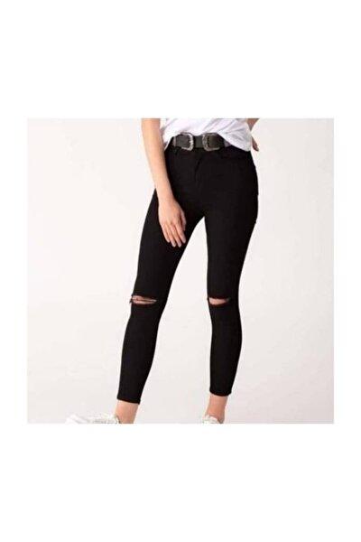 Kadın  Siyah Dizi Yırtık Pantolon