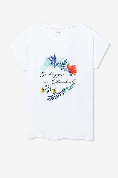 Kadın Happy İstanbul Baskılı Beyaz T-Shirt 1600279-620